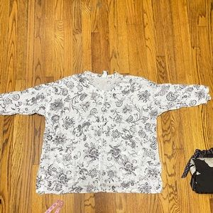 Match Point USA linen tunic floral print size L